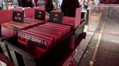 Records and CDs at Portobello market Stock Footage