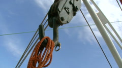 Rope is hanging on a hook Stock Footage