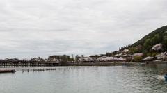 Arashiyama Japanese Landscape Boats & Rainbow Bridge Stock Footage