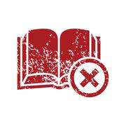 Remove book red grunge icon - stock illustration