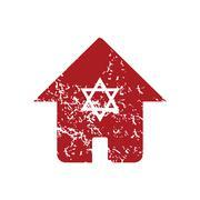 Jewish house red grunge icon Stock Illustration