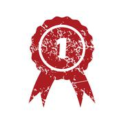 First place red grunge icon Stock Illustration