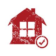 Select house red grunge icon - stock illustration