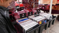 Street sale of Records and CDs Stock Footage