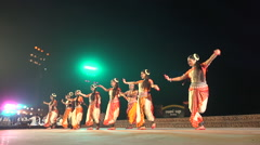 Women perform a classical Indian dance on stage Stock Footage