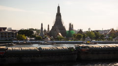 Wat Arun and Bangkok River Stock Footage