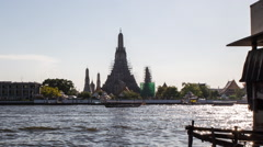Bangkok Riverside with Wat Arun - stock footage