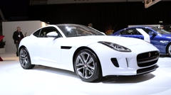 Jaguar F-Type two-seat coupe sports car Stock Footage