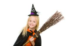 Girl in Halloween attire - stock photo