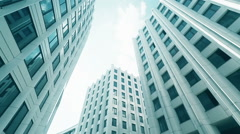 Tilt up on Skyscrapers - blue tint Stock Footage