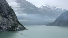 Northern American Fjord, Snowcapped Mountains Rocky Cliffs Stock Footage