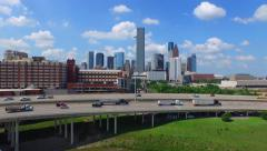 Aerial drone footage of the downtown skyline in Houston Texas. Arkistovideo
