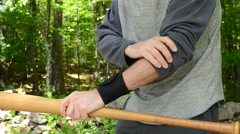 Wrist strap and baseball bat Stock Footage