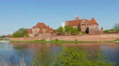 Teutonic Order castle in Malbork at summer 4K Stock Footage