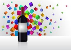 Illustration of wine bottle with abstract color cubes Stock Illustration