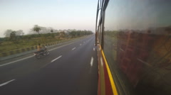 Road view with vehicles passing from bus window during ride, time lapse. Stock Footage