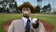Vintage Puppet Monkey with Baseball Stock Footage