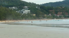 Kata beach with tourists Stock Footage