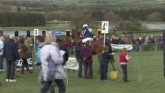Jockey rides horse in parade ring. Stock Footage