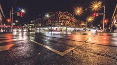 Honest Eds Toronto Bloor Bathurst Intersection Night Timelapse Stock Footage