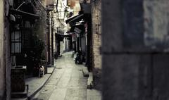 Narrow lane between houses, Guangzhou, China Stock Photos