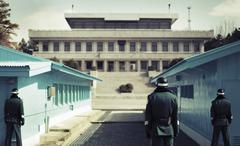 Rear view of soldiers standing at Korean Demilitarized Zone, South Korea Kuvituskuvat
