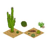 Pixel art cactus tilesets and plants. Vector game assets Stock Illustration