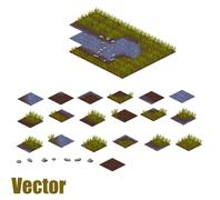 Pixel art river tilesets. Water, grass and land tiles. Vector game assets Stock Illustration