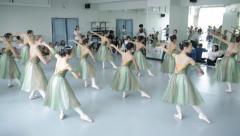 Ballet rehearsal mirror girls Stock Footage