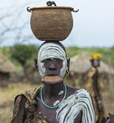 Woman from Mursi tribe in Mirobey village. Stock Photos