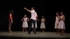 Ballet rehearsal director stage Stock Footage