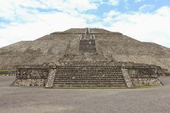 Pyramid of the Sun against cloudy sky Stock Photos