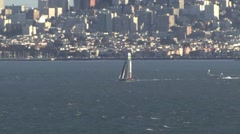 SanFrancisco Bay Boats Sailing in Heatwave - stock footage