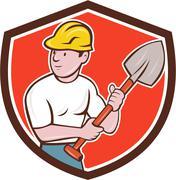 Builder Construction Worker Spade Shield Cartoon - stock illustration