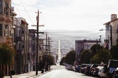 City street against sky Stock Photos