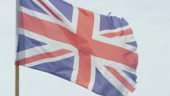 British flag in super slow motion on a bright sunny day, 240 fps - stock footage
