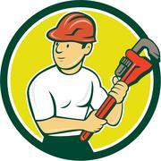 Plumber Holding Monkey Wrench Circle Cartoon Stock Illustration