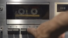 Playing Back a Cassette Tape on a Deck Stock Footage