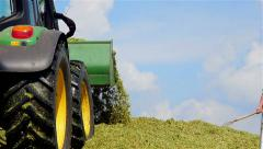 Farm workers make corn silage for winter: farm, cow, livestock Stock Footage