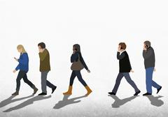 Illustration of people using mobile phones while walking on street against clear - stock illustration