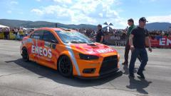Stock Video Footage of 4K motorsports, Bulgarian rely champion at drag race track