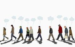Illustration of people with thought bubbles walking on street against clear sky Stock Illustration