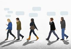 Illustration of people with speech bubbles using mobile phones while walking on Piirros