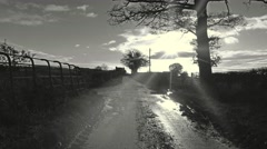 English country lane after rain monochrome 3 Stock Footage