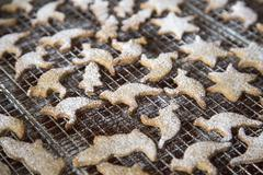Cookies sprinkled with powdered sugar on cooling rack Stock Photos