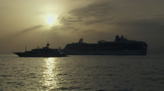 Mykonos Cruise Ship and Yacht Anchored off Coast on the Aegean Sea Stock Footage