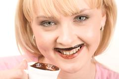Drinking hot chocolate - stock photo