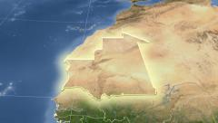 Mauritania on maps - outlined and glowed. Neighbourhood. Set of animations. Stock Footage