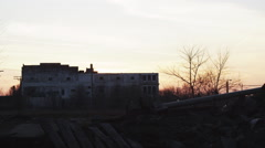 Industrial Decay Clip: Industrial Ruins Building Sunset Stock Footage