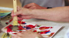 Painting with Brush Stock Footage